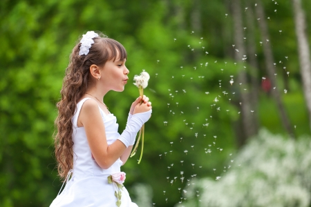 Little girl blows away dandelion in the park at summer