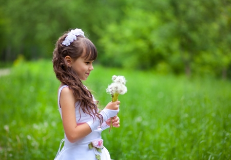Little girl blows away dandelion in the park at summer photo