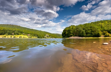 gleam: beautifully summer day on the river Stock Photo