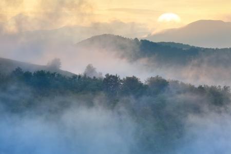 Beautiful foggy sunrise in the mountains photo