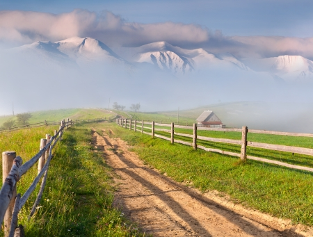 Beautiful spring landscape in a mountain village Stock Photo - 14536291