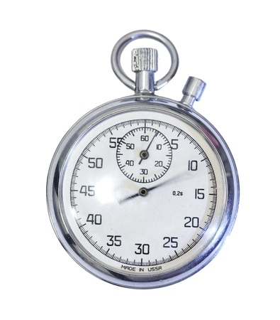 Old mechanical russian stopwatch isolated on white photo