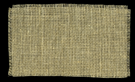 sackcloth: Textile Patch Isolated On Black Background  Ready for your message  Stock Photo