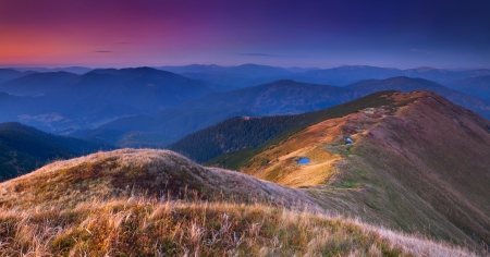 gleam: Colorful autumn landscape in the mountains. Sunrise Stock Photo