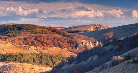 Beautiful summer landscape in the mountains  Sunrise on the Demerdzhi plateau, Crimea photo