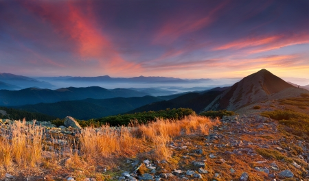 gleam: Colorful autumn landscape in the mountains  Sunrise Stock Photo