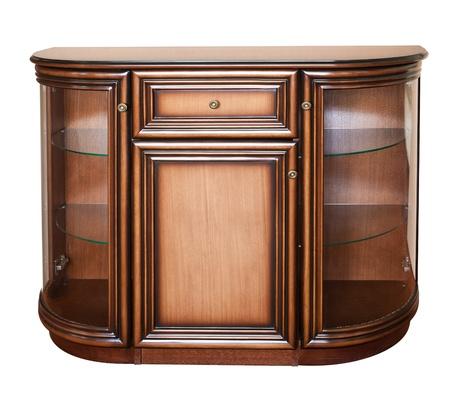 doorhandle: Wooden old stile bureau. Isolated on white