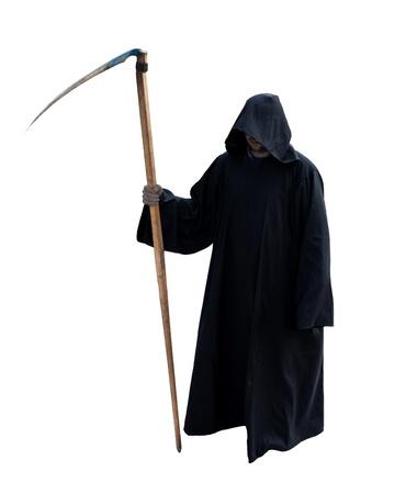 sense: Grim Reaper isoliert auf den wei�en Lizenzfreie Bilder