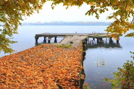 sity: autumn in the sity on the quay Stock Photo