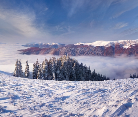 winter morning landscape in the  mountains Stock Photo - 15256111