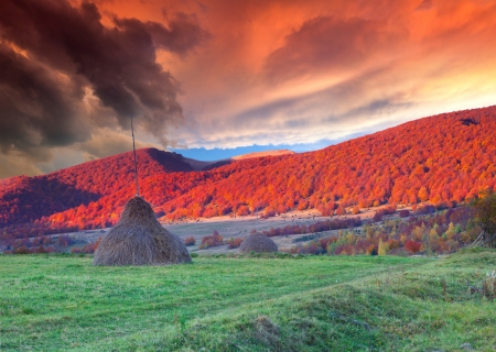 Dramatic autumn landscape in the mountains  Sunset photo