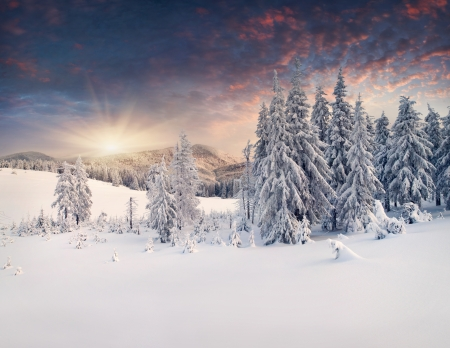 winter background: Beautiful winter landscape in the mountains  Sunset Stock Photo