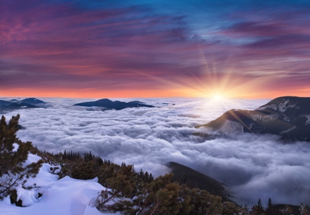 panoramic nature: Beautiful wintwer landscape in the mountains. Sunset