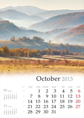 2013 Calendar. October. Beautiful autumn landscape in the mountain village. photo