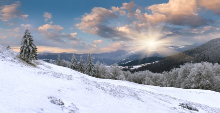 Beautiful winter landscape in the mountains photo