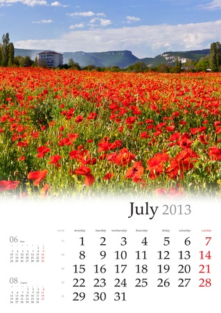 2013 Calendar. July. Beautiful summer landscape with field of poppies