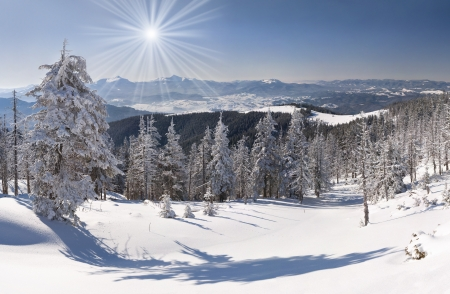 gleam: Beautiful winter landscape in the mountains Stock Photo