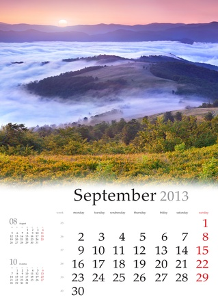 2013 Calendar. September. Beautiful autumn landscape in the mountains. photo