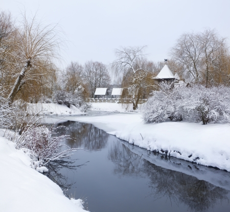 Snow-covered landscape in the city park Stock Photo - 16463940