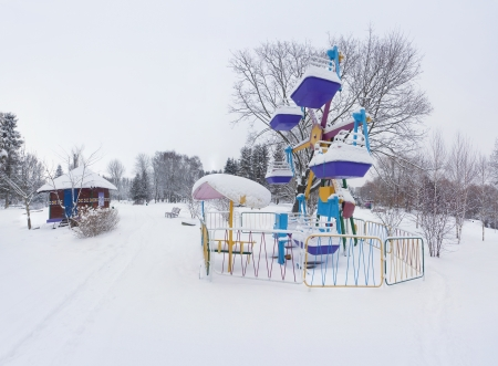 Snow-covered landscape in the city park Stock Photo - 16463945