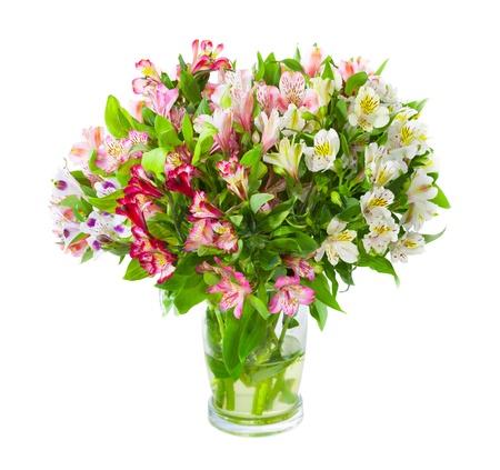 Bouquet of Alstroemeria Blumen in Glasvase auf weißem Hintergrund isoliert Standard-Bild