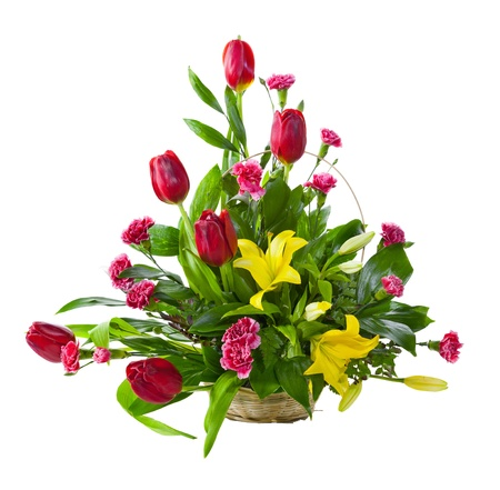 Bright flower bouquet in basket isolated over white background Stock Photo - 17757635