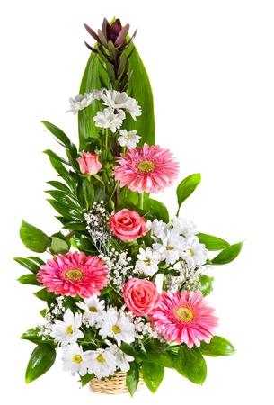 Bright flower bouquet in basket isolated over white background Zdjęcie Seryjne - 17757667