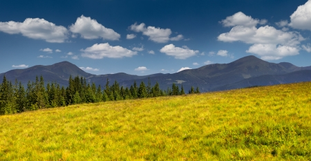 Panorama of two mountains peak in the Carpathian mountains  Ukraine photo