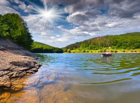 kayak: zomerreis op de rivier per kano Stockfoto
