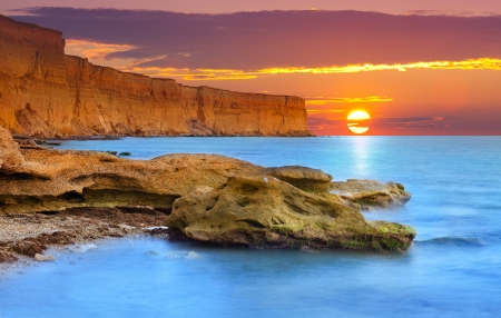 Beautiful summer seascape. Sunrise Stock Photo