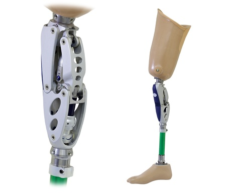 Prosthetic leg and knee mechanism isolated on white Stock Photo