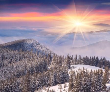 Beautiful winter sunrise in the mountains Zdjęcie Seryjne