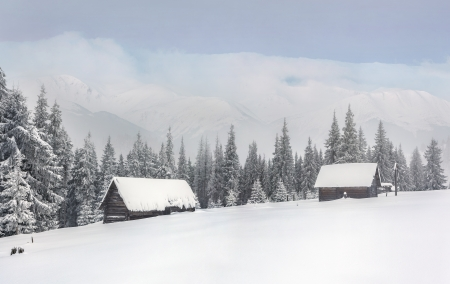old barn in winter: old farm in the mountains at winter