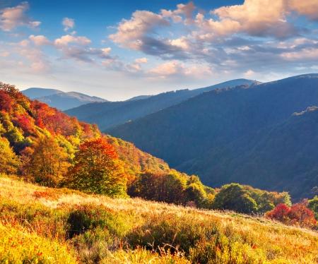 estaciones del a�o: Colorido paisaje de oto�o en las monta�as Foto de archivo