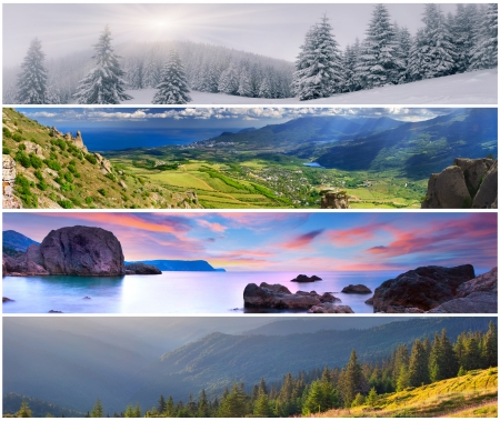 summer season: Set of the 4 seasons landscape for banners Stock Photo