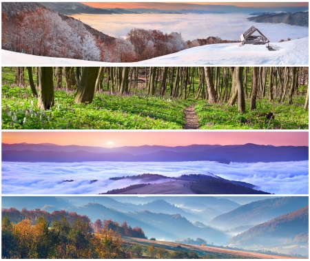 Set of the 4 seasons landscape for banners Фото со стока