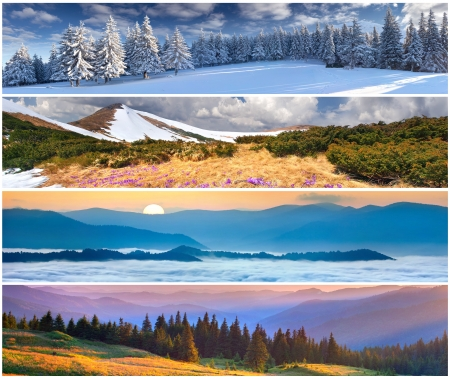 Set of the 4 seasons landscape for banners Stock Photo