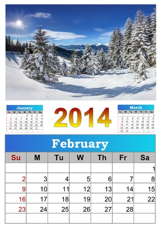 2014 Calendar. February. Beautiful winter landscape in the mountains. photo
