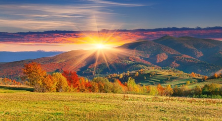 Colorful autumn landscape in the mountains  Sunrise 스톡 콘텐츠