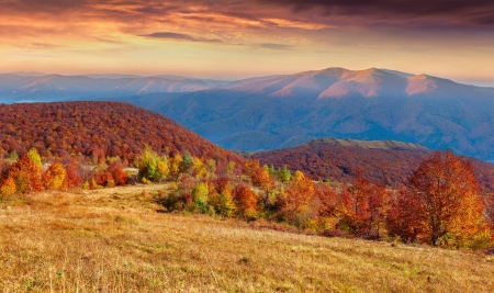 Colorful autumn sunset in the mountain