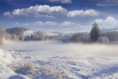 Beautiful winter landscape in the mountain village.  photo