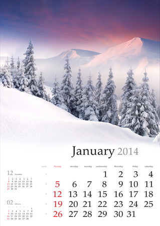 january sunrise: 2014 Calendar. Enero. Hermoso paisaje de invierno en las monta�as.