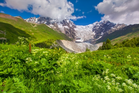 Shkhara and Tetnuld mountains  Georgia, the main Caucasian ridge  photo