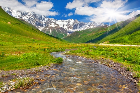 Beautiful landscape with mountain stream  Georgia, the main Caucasian ridge  photo