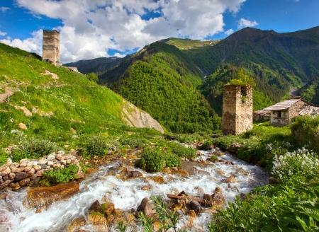 svaneti: View of the village Adishi. Georgia, Svaneti.