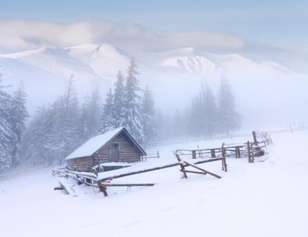 포레스터의 오두막은 산에 눈이 덮여 스톡 콘텐츠