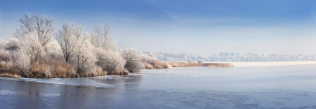 Panorama of the frozen pond. Ternopil, Ukraine, Europe. photo