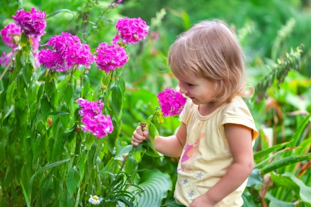 Cute little girl sitting among the flowers in Sunny summer day photo