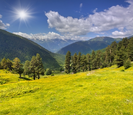 Beautiful summer landscape in the Caucasus mountains. Upper Svaneti, Georgia photo