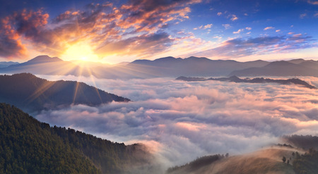 Panorama of misty morning in the mountains in summer photo